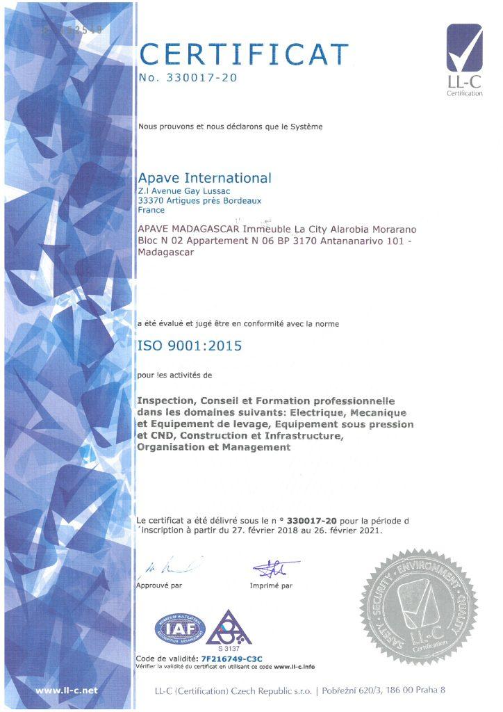 ISO 9001 Certificate - APAVE Madagascar FR
